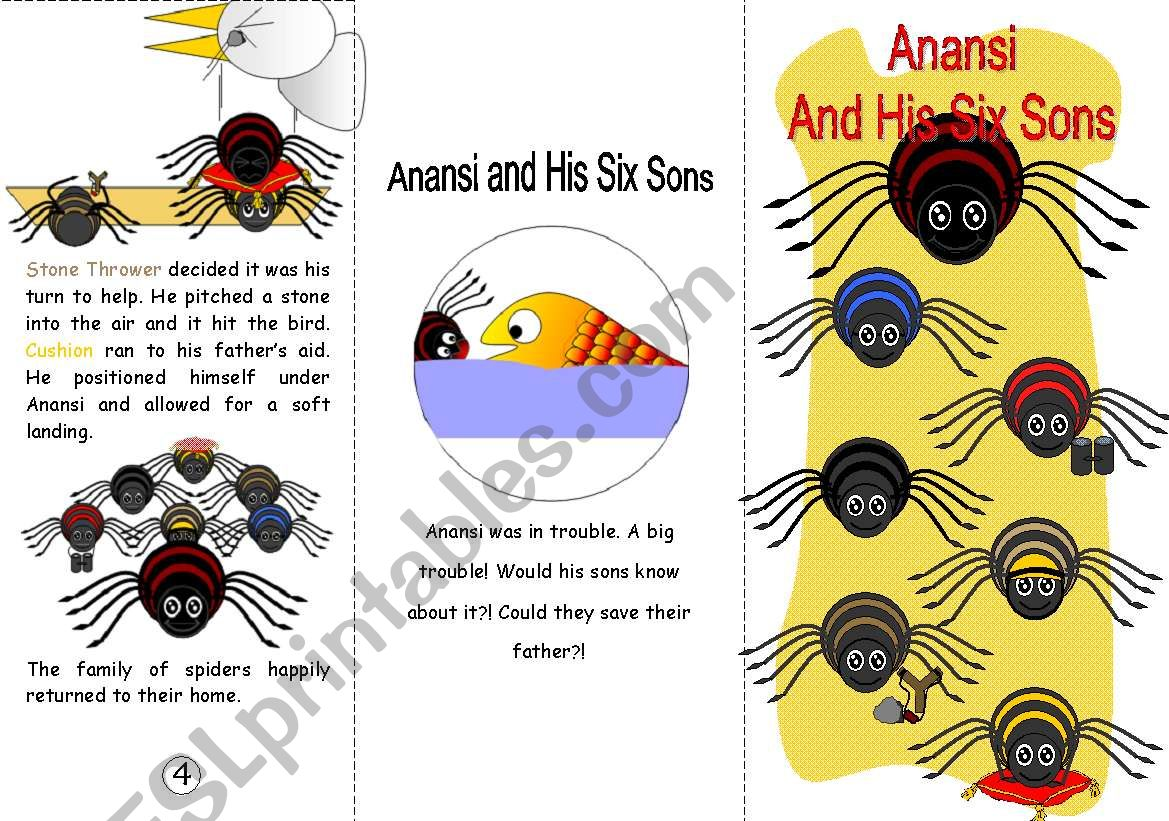 photo relating to Printable Anansi Stories named Anansi and his 6 sons [C] (tale in just a brochure) - ESL